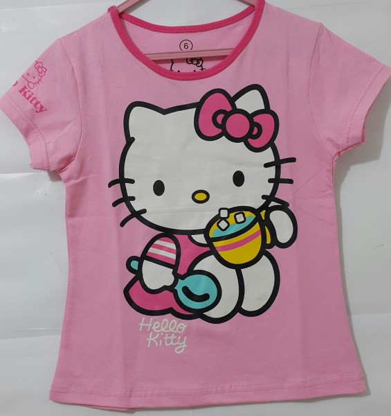 baju anak kaos-hello-kitty-spoon-pink pink