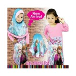 baju gamis muslim frozen pink ( LITTLE PINEAPPLE)