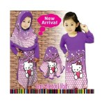 baju gamis muslim hello kitty ungu violet ( LITTLE PINEAPPLE)