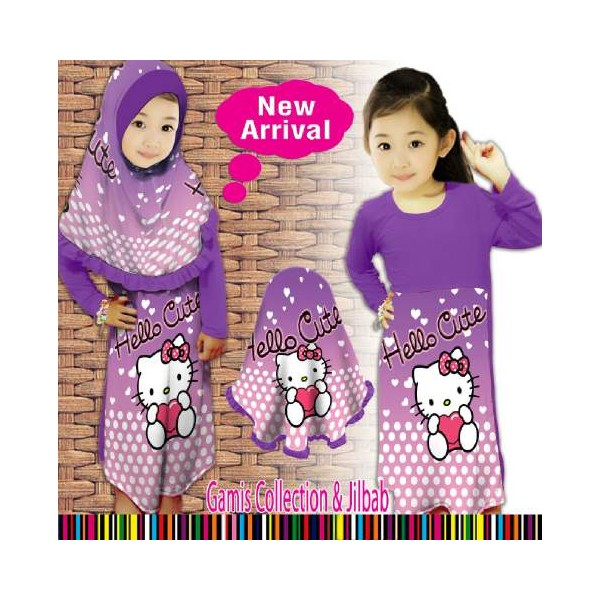 GAMIS MUSLIM Hello kitty ungu