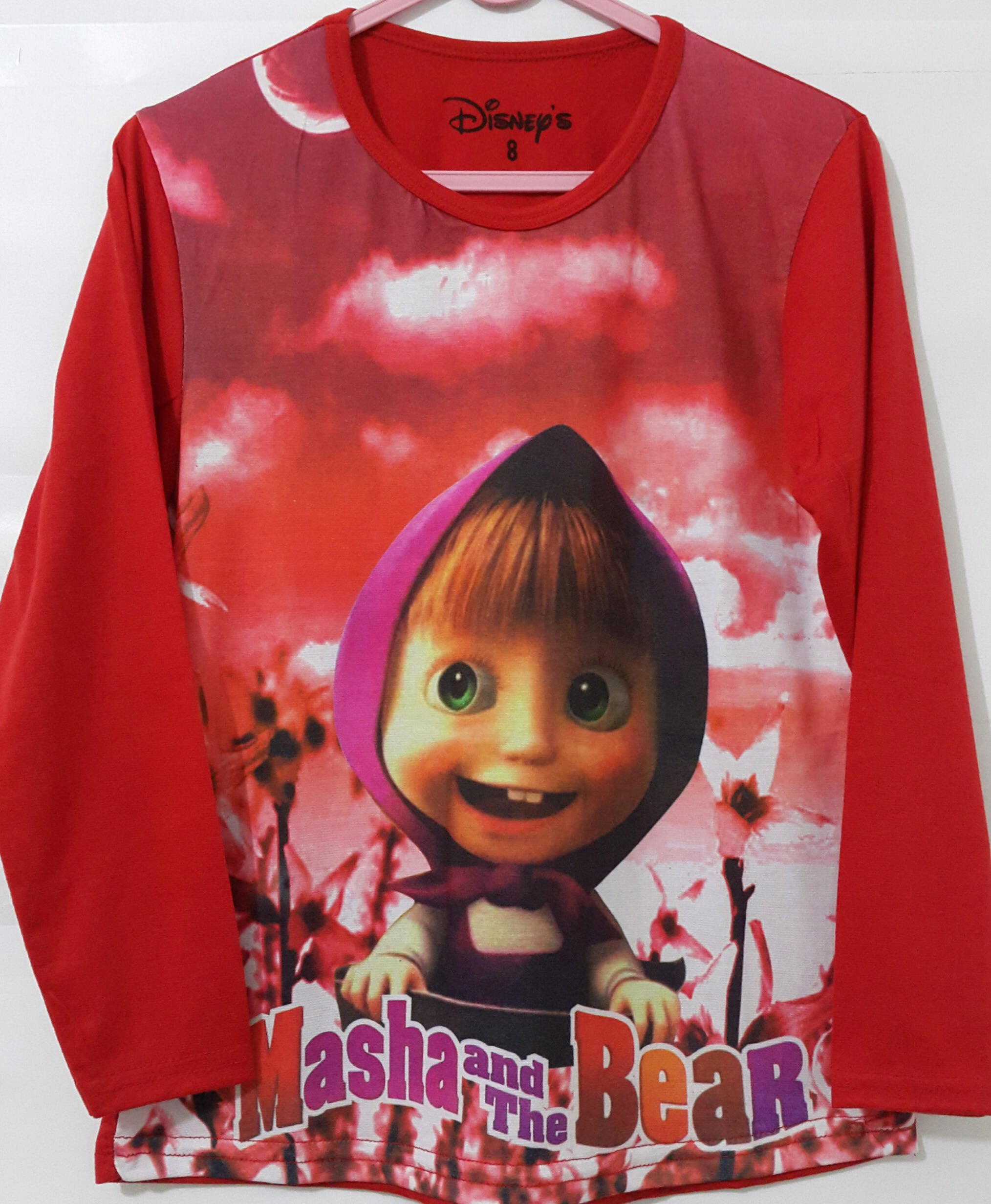 4 14T baju anak masha and the bear merah lengan panjang .