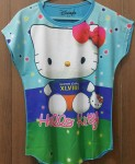 (4-14) baju anak batwing Hello kitty -super girl blue green