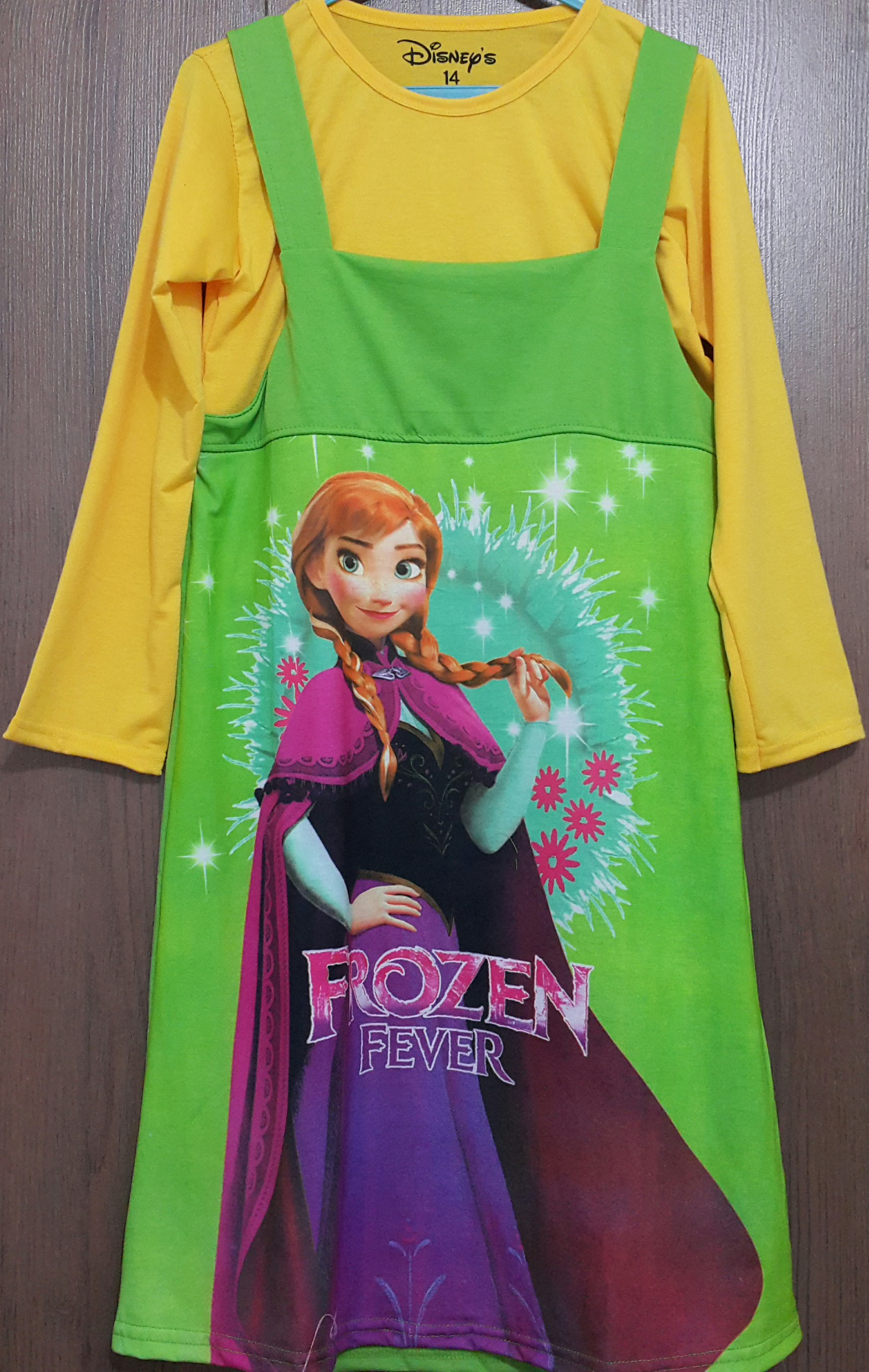 dress 2pcs frozen kuning hijau