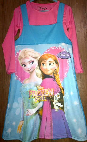 dress 2pcs frozen pink biru