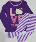 piyama anak hello kitty love ungu salur ( 1-6)
