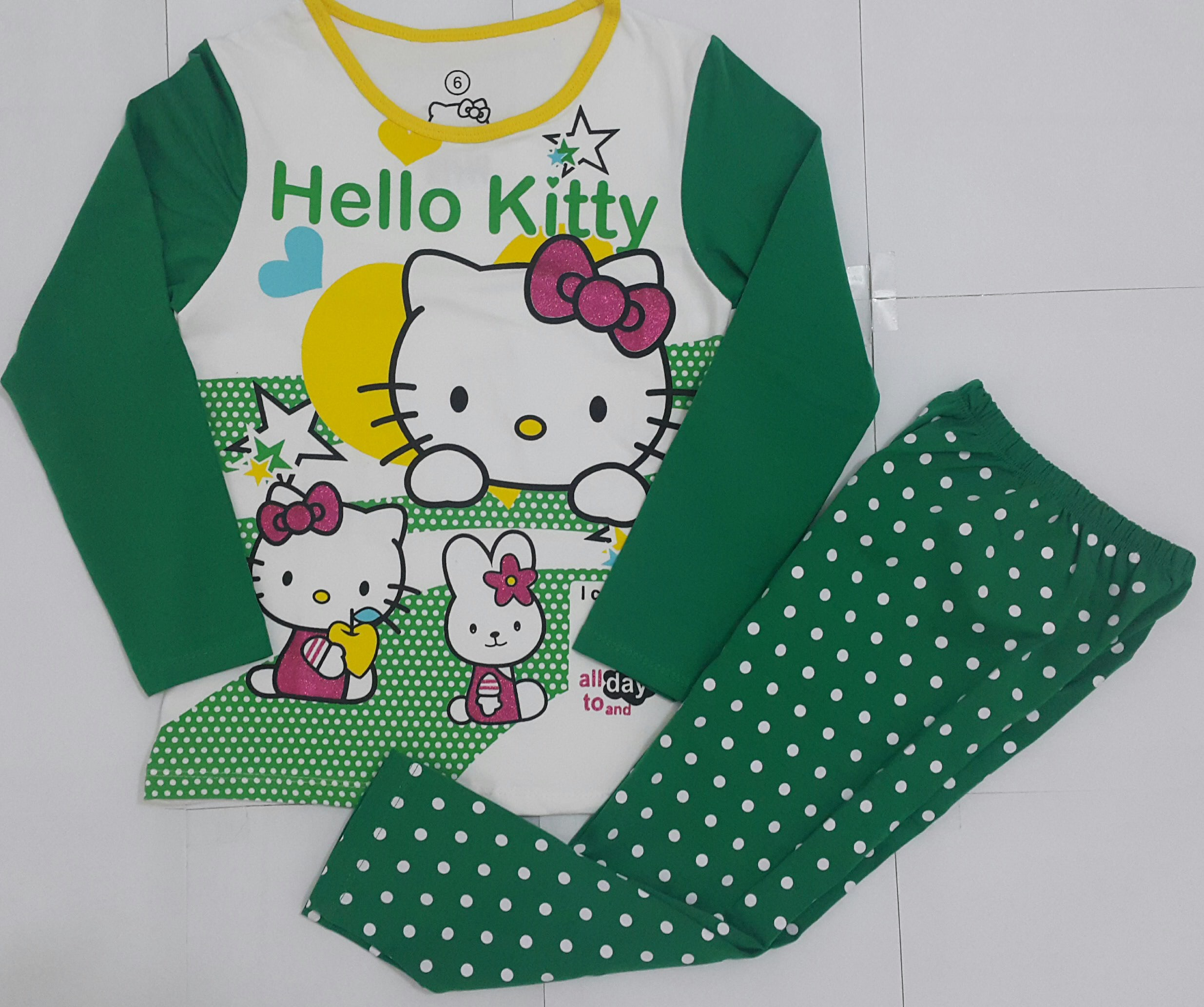 PIYAMA ANAK HELLO KITTY GREEN