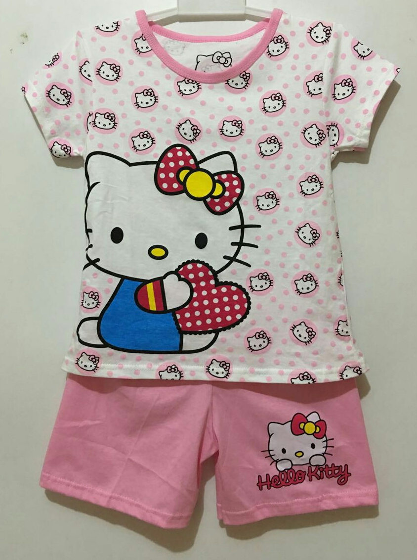 setelan hello kitty polkadot white