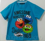 kaos elmo awesome monster biru 1-6, sesame street