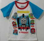 kaos thomas n friends raglan biru 1-6,thomas friends