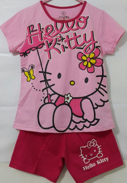 1t 6t Setelan Baju Anak Hello Kitty Umbrella Pink