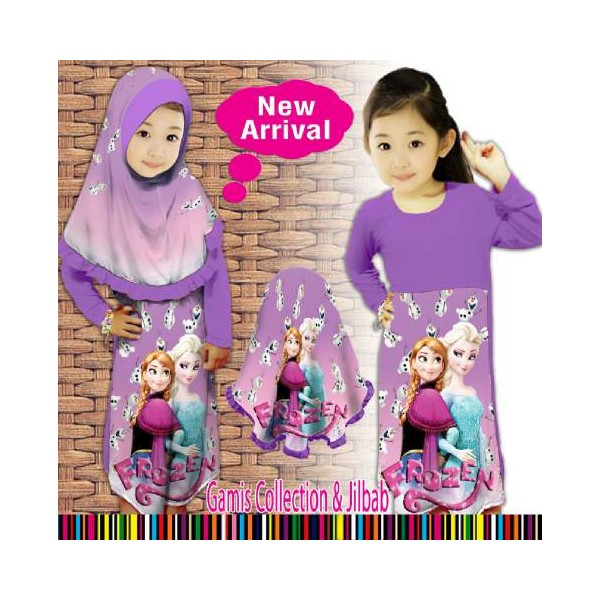 Baju Gamis Muslim Frozen Ungu Violet Little Pineapple